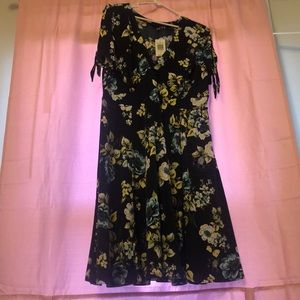 Navy Flowered dress-falls right below the knee